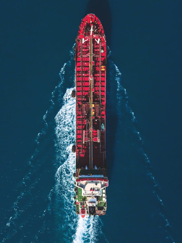 Aerial view of an oil tanker ship