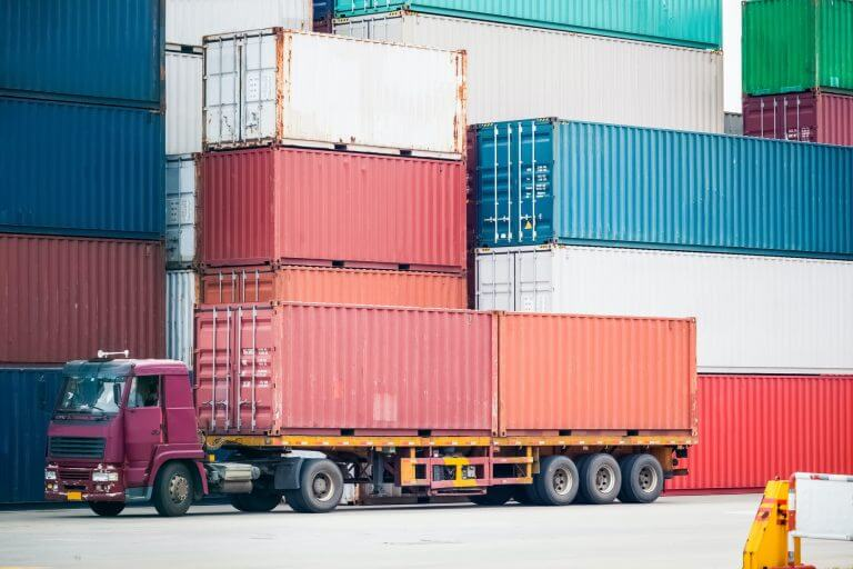 cargo truck in container depot