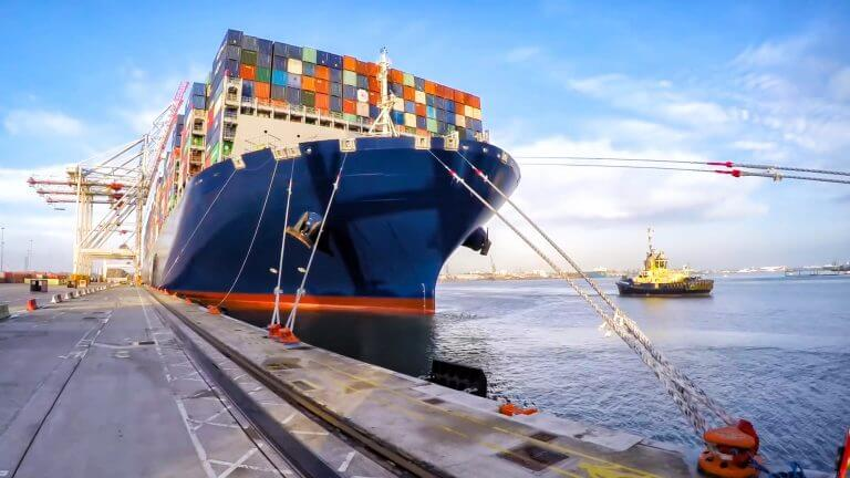 Container ship at harbor port