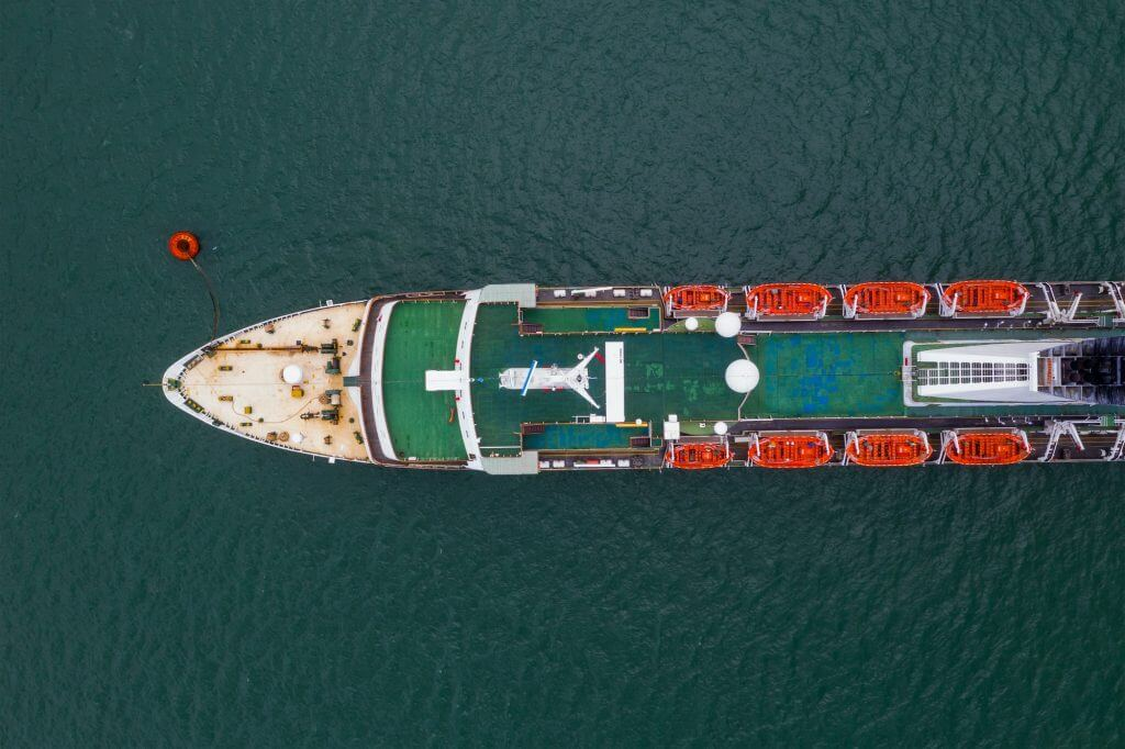 Top view of the cargo ship