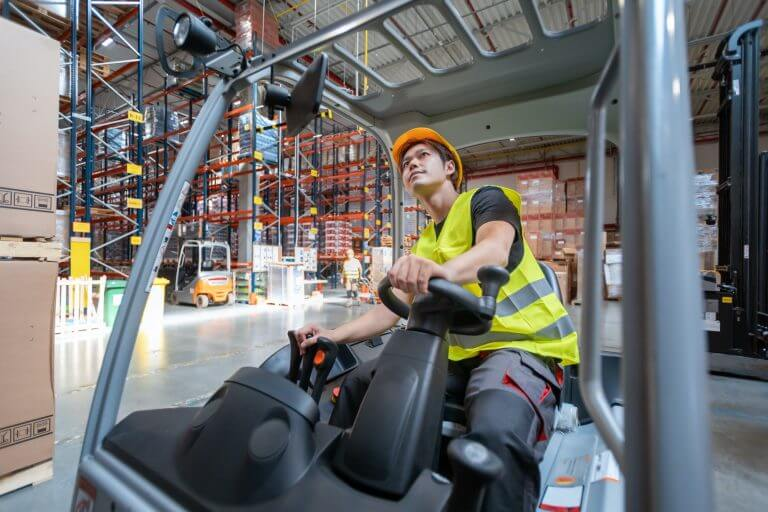 Using forklift in large warehouse